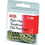 ACCO® Gold Tone Paper Clips, #2, Smooth, 100/PK