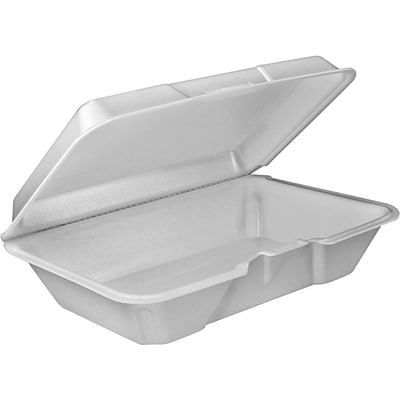 Dart® 205HT1 Hinged Lid Food Container, White, 2.9(H) x 6.4(W) x 9.3(D)