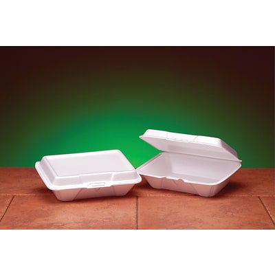 Genpak® 20500 Carryout Hinged Container; White, 2 7/8(H) x 6 1/2(W) x 9.19(D), 200/Pack