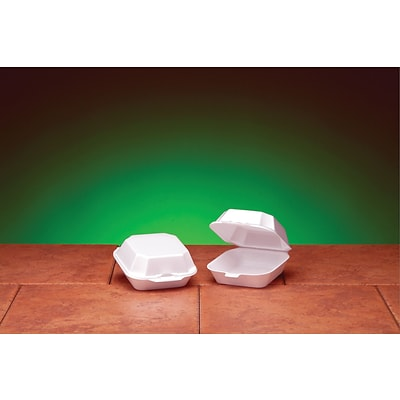 Genpak® 22400 Medium Sandwich Hinged Container, White, 2 3/4(H) x 5.19(W) x 5.13(D)