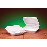 Genpak® 23300 Medium Hi-Volume Foam Hinged Dinner Container, White, 3(H) x 9 1/4(W) x 8.88(D), 200/Pack