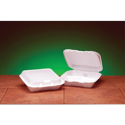 Genpak® SN223 Small Snap-It Hinged Dinner Container, White, 2.38(H) x 7.63(W) x 8.44(D)