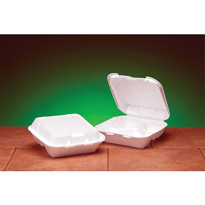 Genpak® SN243 Medium Snap-It Hinged Dinner Container; White, 3(H) x 8(W) x 8 1/4(D), 200/Pack