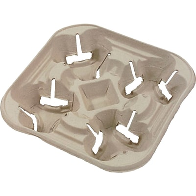 Chinet® FLURRY Cup Holder Tray, Beige, 22 oz., 300/Case