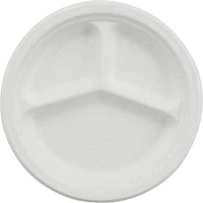 Chinet® VISTA Dinnerware Plate, 3 Compartments, 9 1/4(Dia), White, 500/Pack