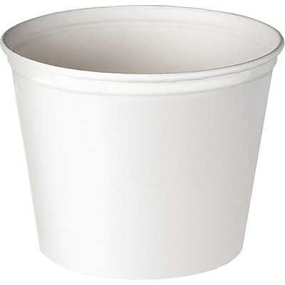 SOLO® 5T1UU Unwaxed Double Wrapped Paper Bucket, White, 83 oz, 100/Pack