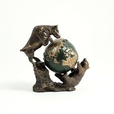 Bey-Berk B159 Bronzed Finished Bull and Bear Fight Sculpture With Globe