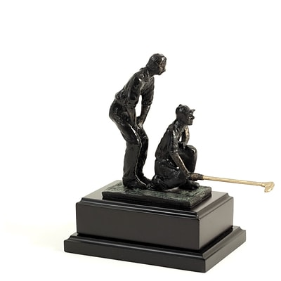 Bey-Berk B166 Bronzed Double Golfer, Wood Base, Small, 8 3/4