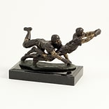 Bey-Berk B206 Bronze Football Players Sculpture, Marble Base