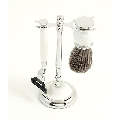 Bey-Berk BB03 Mach 3 Razor and Pure Badger Brush With Chrome Plated White Enamel Finish