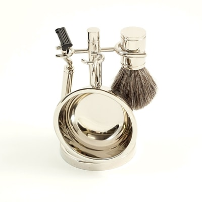 Bey-Berk BB16 Mach 3 Razor and Pure Badger Brush With Soap Dish on Chrome Stand
