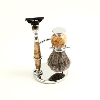 Bey-Berk BB17 Mach 3 Razor and Pure Badger Brush With Tan Chrome Stone Stand