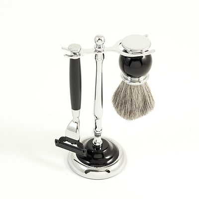 Bey-Berk BB23 Mach 3 Razor and Pure Badger Brush With Chrome Plated Black Enamel Finish
