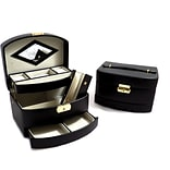 Bey-Berk BB522 Leather 3 Level Hinged Jewelry Box With Mirror, Black