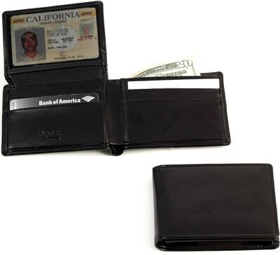 Bey Berk Bb525 Black Leather Bi Fold Wallet With Flip Out Id Window