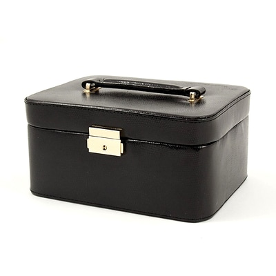 Bey-Berk BB534 Leather Lizard Jewelry Box, Black