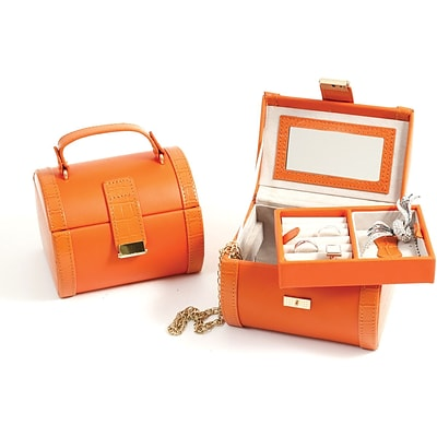 Bey-Berk BB552 Leather Jewelry Case, Orange