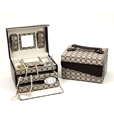 Bey-Berk BB569 Leather and Cloth Material 3 Level Jewelry Case, Two-Tone Brown