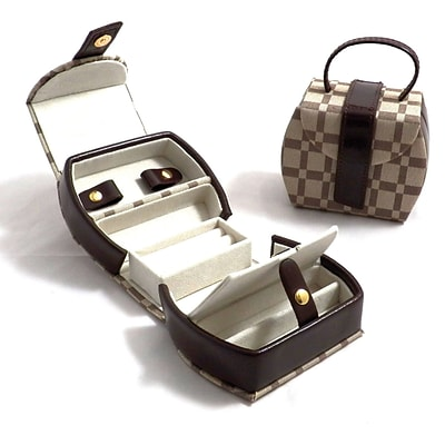 Bey-Berk BB570 Leather and Cloth Jewelry Box With 2 Compartment, Two-Tone Brown