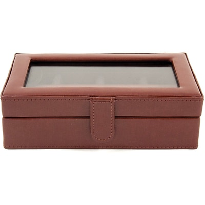 Bey-Berk BB577 Leather 12 Cufflink Box, Brown