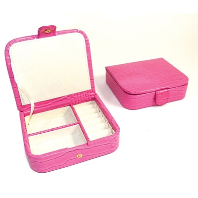 Bey-Berk BB582 Croco Leather Jewelry Case, Pink