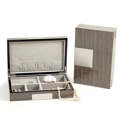 Bey-Berk BB597 Lacquered Burl Wood Valet Box With Multi Compartments, Gray