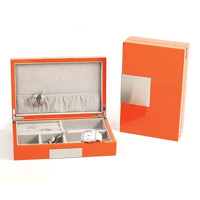 Bey-Berk BB597 Lacquered Burl Wood Valet Box With Multi Compartments, Orange