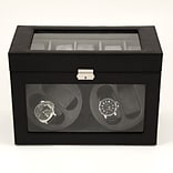 Bey-Berk BB605 Leather 4 Watch Winder and 5 Watch Storage Case, Black