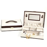 Bey-Berk BB610 Brown Leather Jewelry Box With Multi Compartment, Ivory