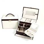 Bey-Berk BB611 Brown Leather 4 Level Jewelry Box, Ivory
