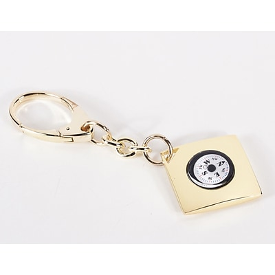 Bey-Berk BB83 Key Ring With Compass, Gold Plated