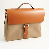Bey-Berk BB900 Leather and Khaki Fabric Briefcase; Saddle