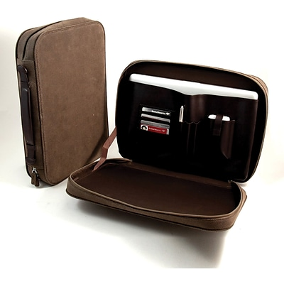 Bey-Berk BB906 Ultra Suede and Leather Computer Carrying Case; Brown