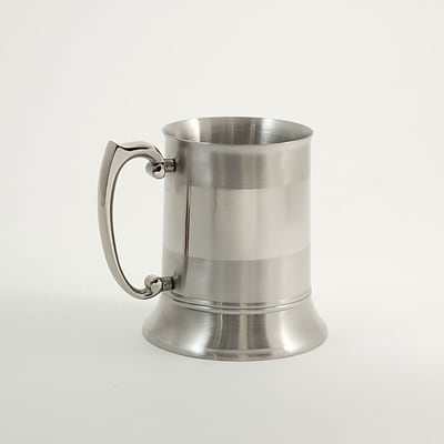 Bey-Berk BS100B Stainless Steel Chrome and Satinized Tankard, 1 Pint