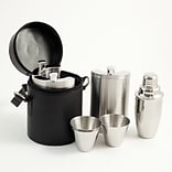 Bey-Berk BS912 Stainless Steel Bar Set With Black Buffalo Leather Carrying Case, Ten Piece
