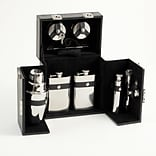 Bey-Berk BS913 Stainless Steel Bar Set With Black Leather Carrying Case With Locking Clasp