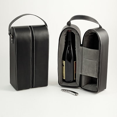 Bey-Berk BS936 Leather Wine Caddy For Two Bottles, Black