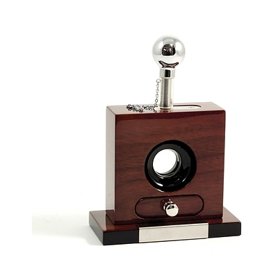 Bey-Berk C115 Lacquered Walnut Wood and Stainless Steel Table Top Guillotine Cigar Cutter