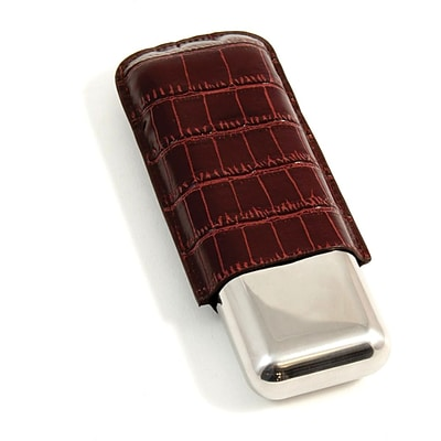Bey-Berk C242 52 ga Croco Leather and Stainless Steel Double Cigar Holder, Brown