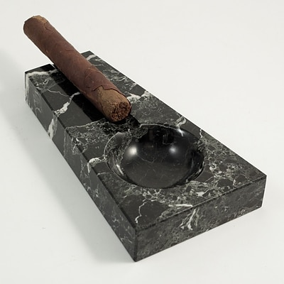 Bey-Berk C301 Solid Marble Single Cigar Ashtray, Black