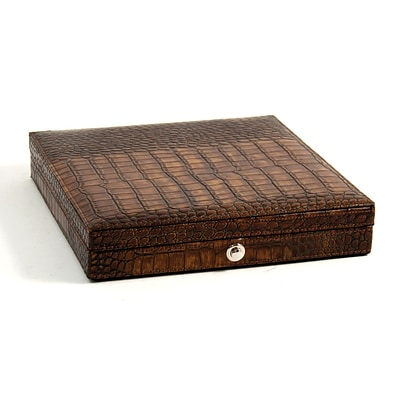 Bey-Berk C408 Croco Leather 12 Cigar Humidor, Brown