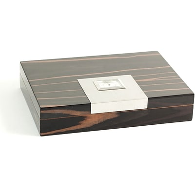 Bey-Berk C413 Lacquered Ebony Wood 12 Cigar Humidor