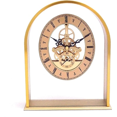 Bey-Berk CM668 Brushed Gold Plated Georgetown Quartz Clock With Skeleton Movement