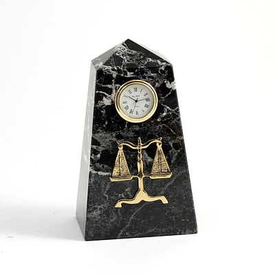Bey-Berk CM815 Black Zebra Marble Quartz Clock, Legal