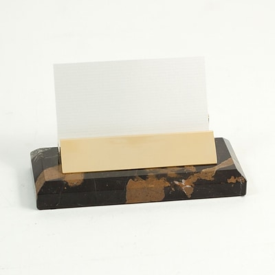 Bey-Berk D014 Gold Plated Business Card Holder, Black and Tan