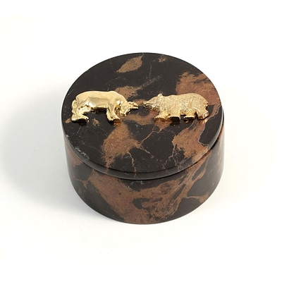 Bey-Berk D016 Round Box With Gold Plated Accents, Stock Market