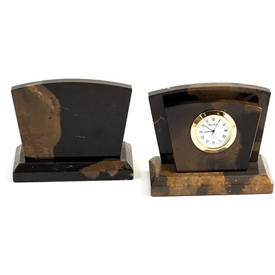 Bey-Berk D017 Clock/Letter Rack With Gold Plated Accents, Military Green