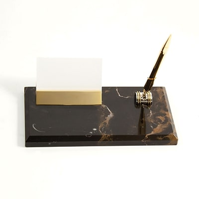 Bey-Berk D020 Gold Plated Business Card Holder With Pen, Black and Tan