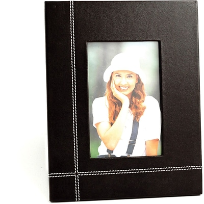 Bey-Berk D1219 Coco Brown Leather Picture Frame With Easel Back, 4 x 6