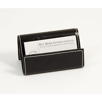 Bey-Berk D1314 Leather Business Card Holder, Black
